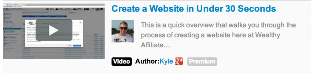 A video link on he left and beside it a photo of Kyle inviting people to create a website in under 30 szeconds