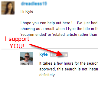 Personal support from Kyle