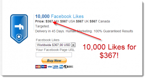 10,000 Facebook Likes for $367
