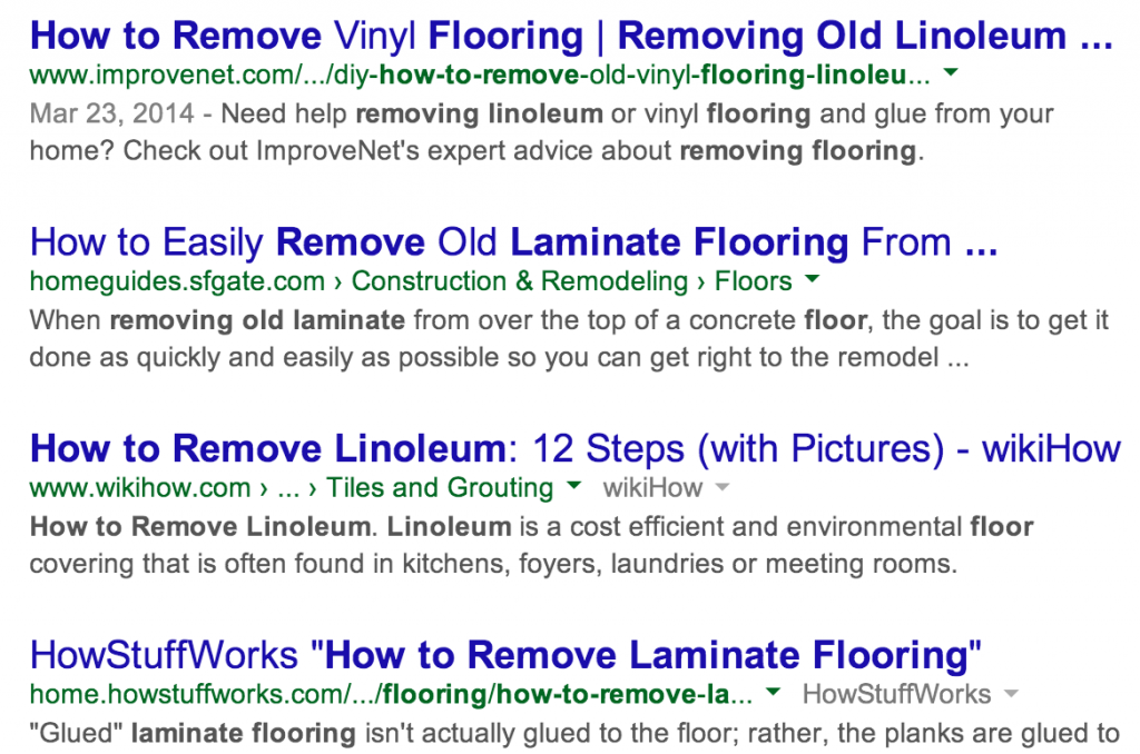 Google Search Results - How to Remove Laminate Flooring