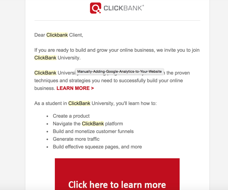 Clickbank Emails Promoting Clickbank University